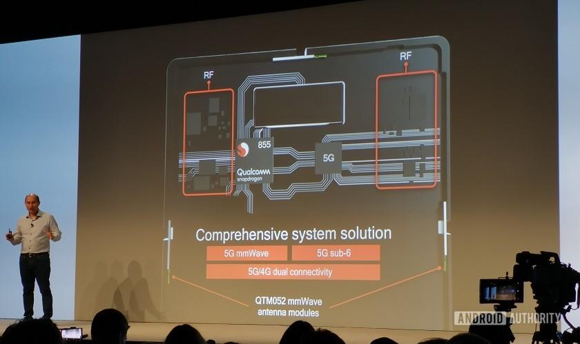 Qualcomm Snapdragon 855 5G modem and radio setup