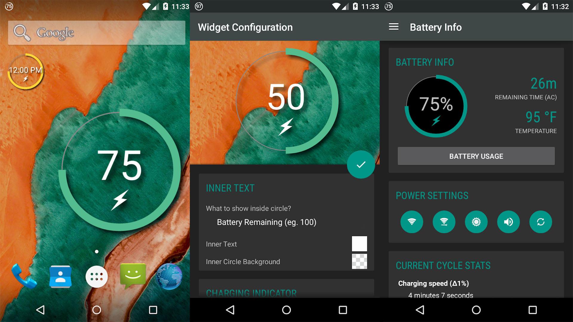 Battery Widget Reborn screenshot for the best android widgets