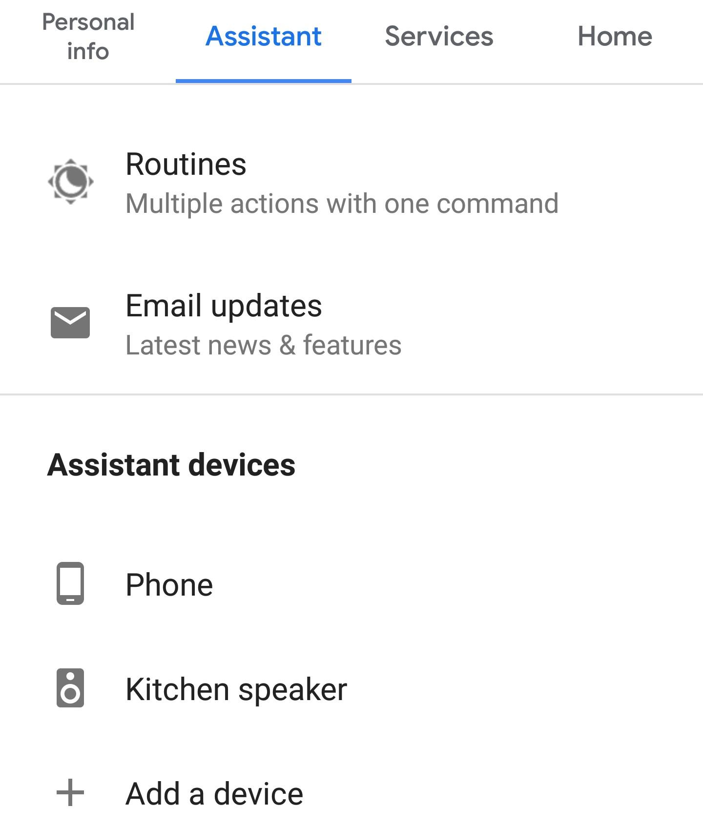 Google Assistant menu showing general options.