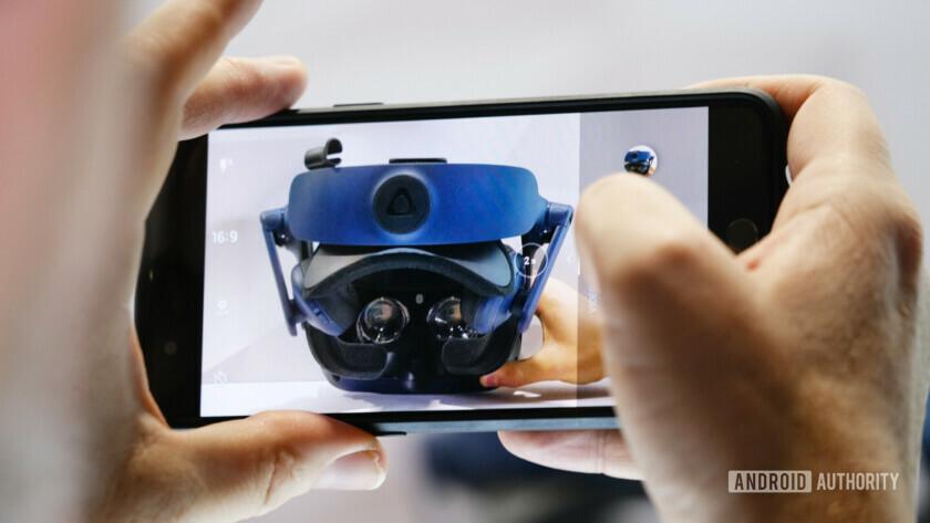 HTC Vive Pro Eye VR headset seen through smartphone