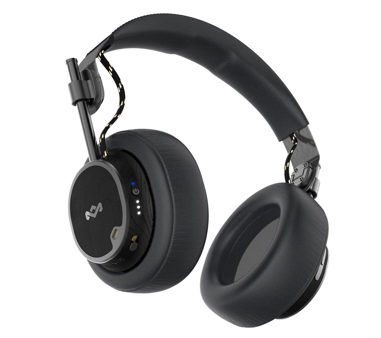 House of Marley Exodus ANC headphones in black on white background.