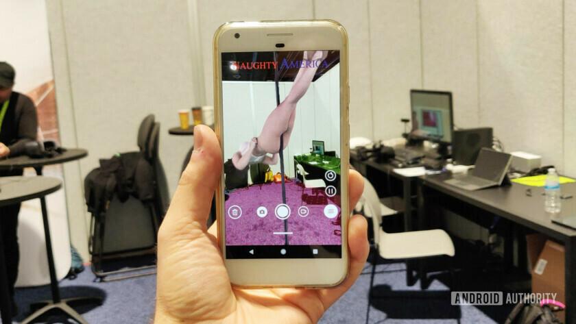Naughty America's AR porn app on a smartphone
