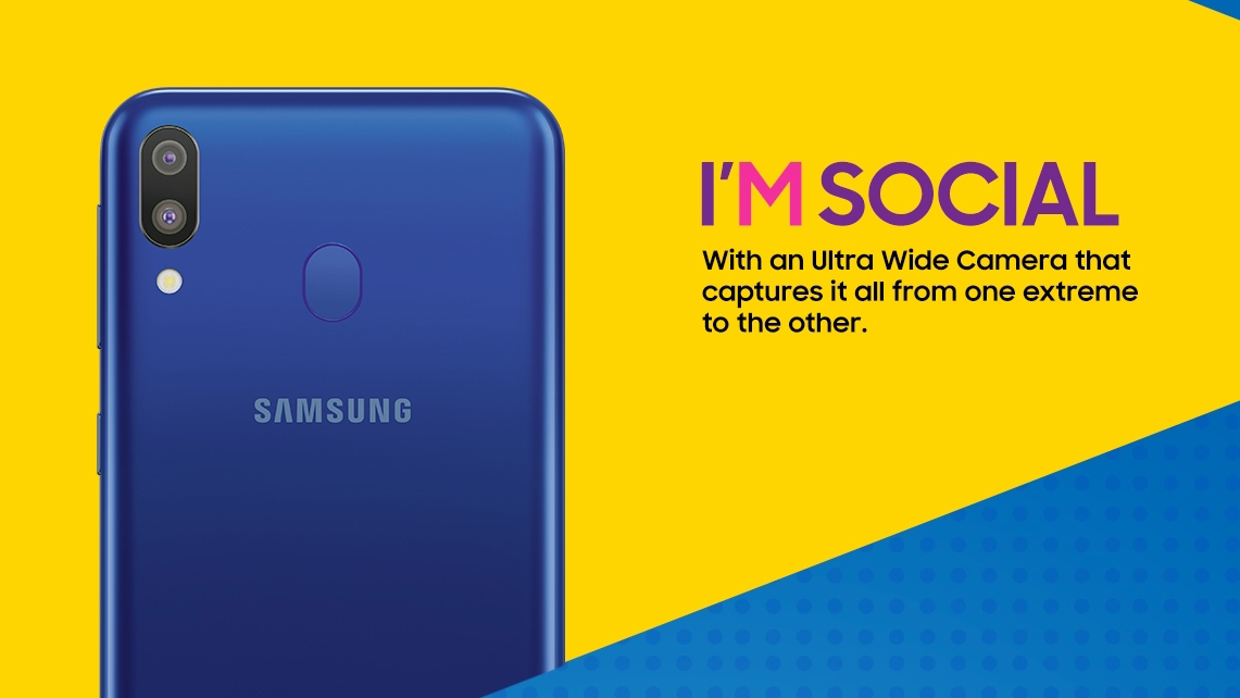 Promotional imagery for the Samsung Galaxy M Series.