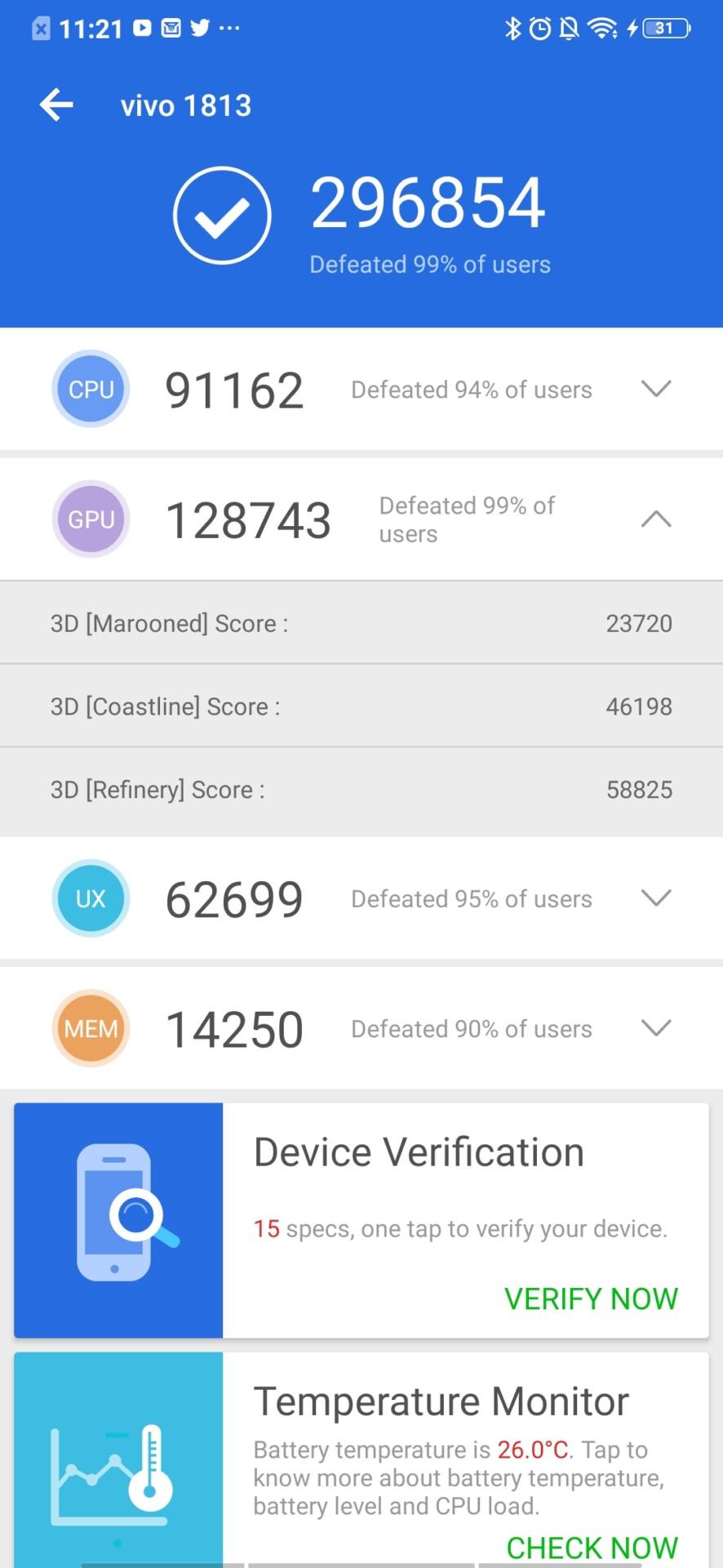 Vivo NEX Dual Display edition benchmarks