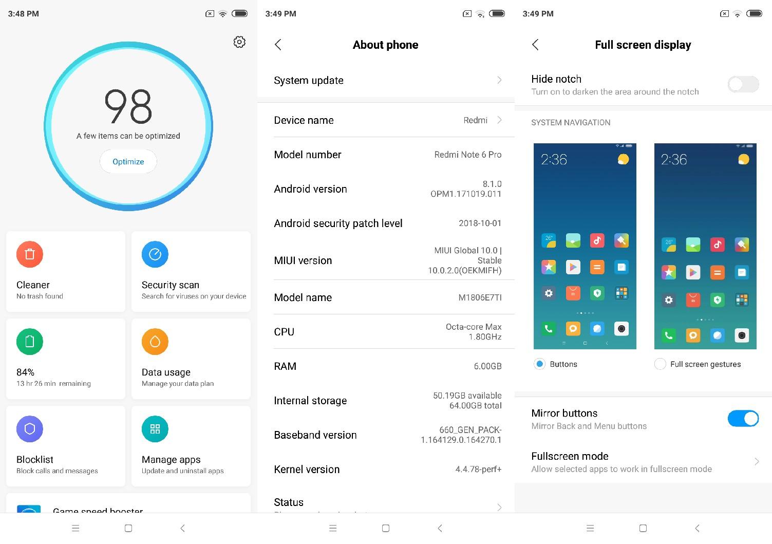 Redmi Note 6 Pro miui settings menu