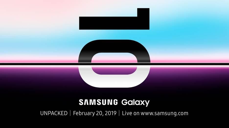 The Samsung Galaxy S10 Unpacked event invite.