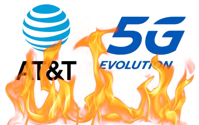 ATT 5G Evolution Logos on fire