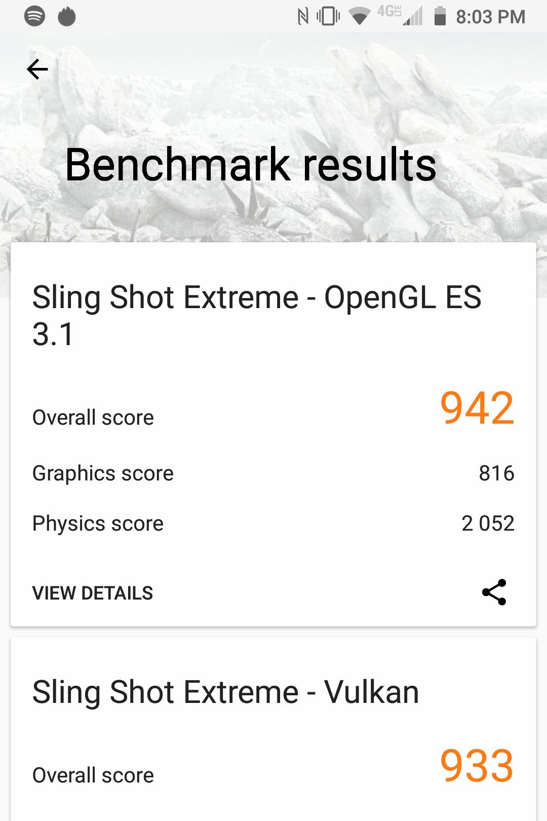 Screenshot of the BlackBerry Key2 LE 3DMark benchmark results