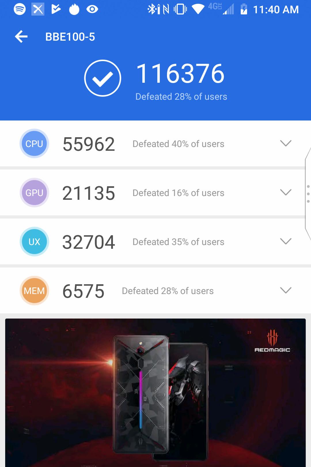 Screenshot of the BlackBerry Key2 LE Antuntu benchmark results