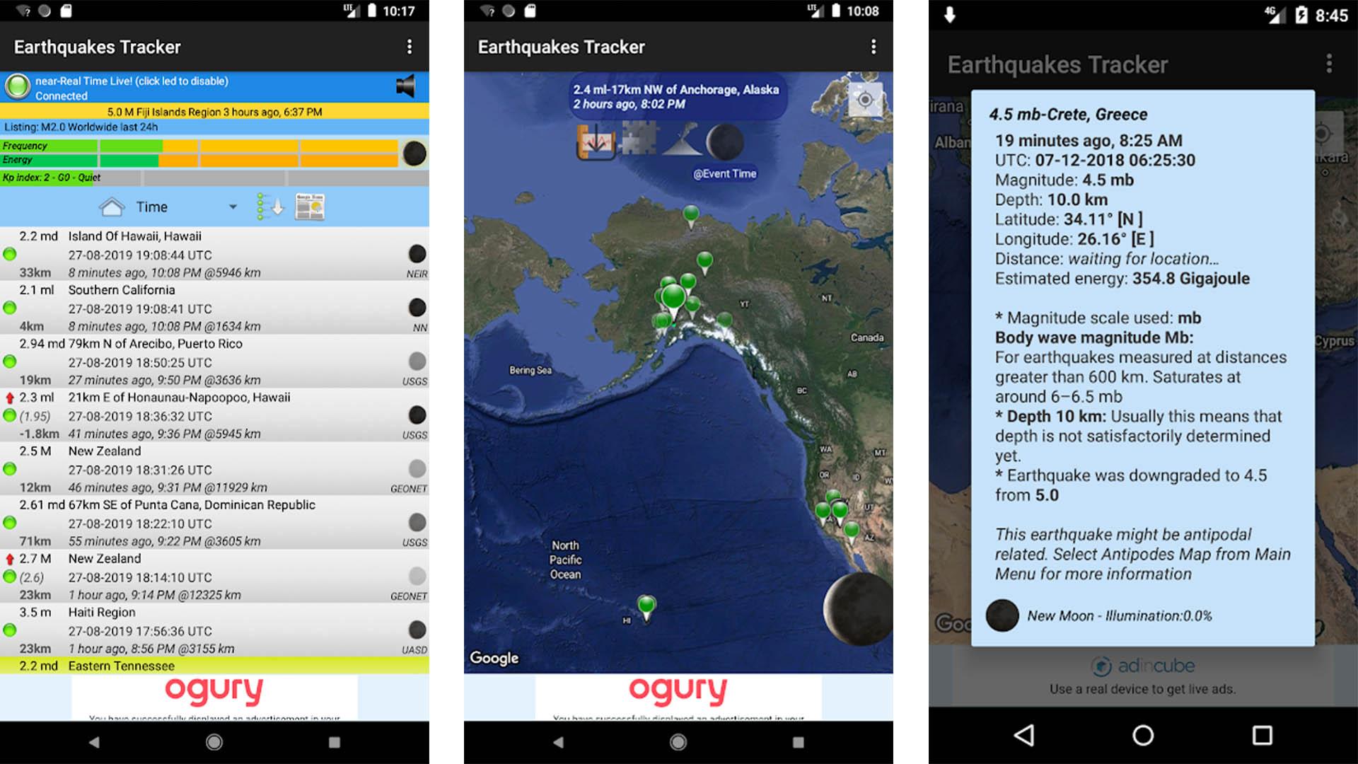 Earthquake Tracker screenshot 2020