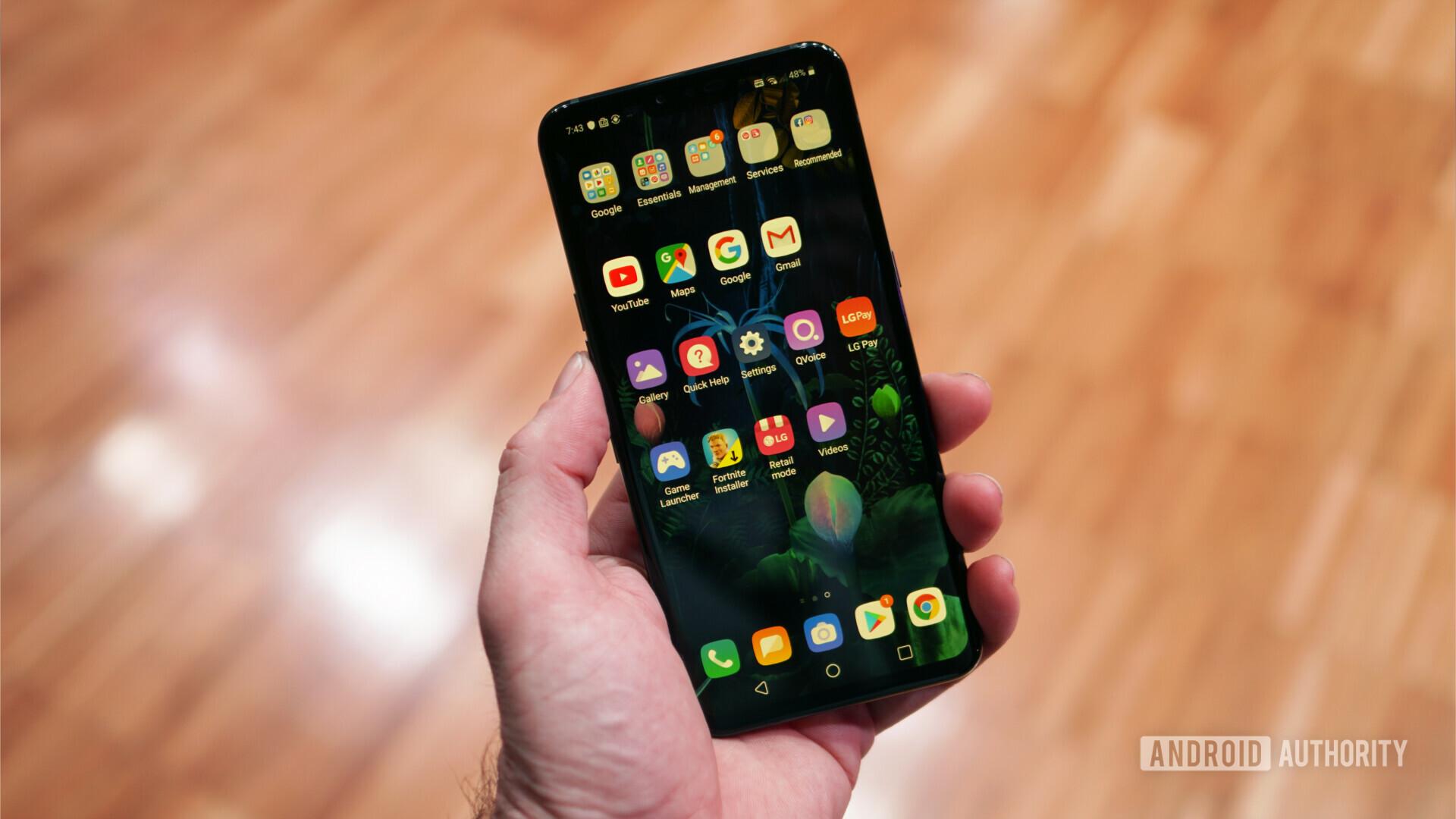 LG V50 ThinQ 5G app screen