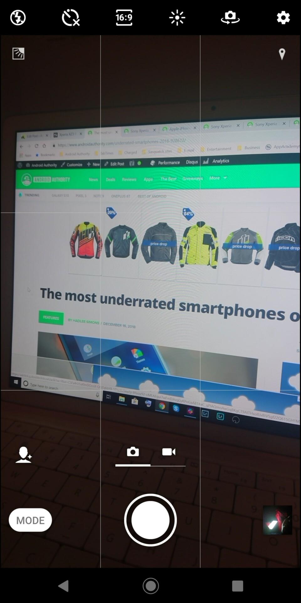 Sony Xperia XZ3 camera app screenshot