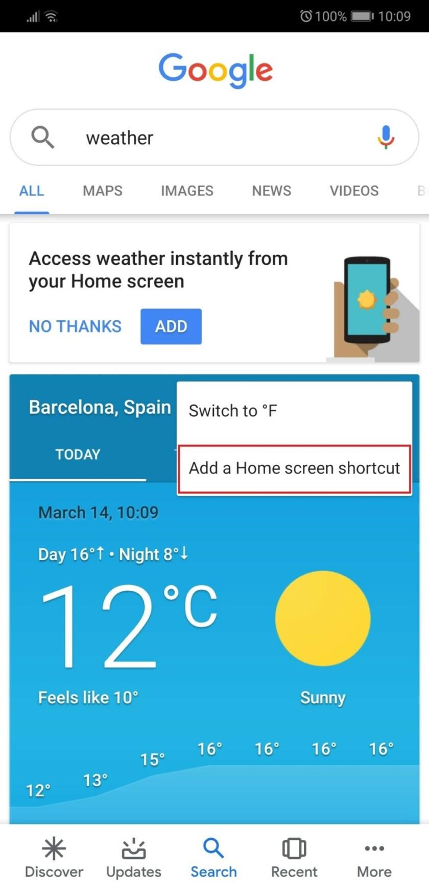 Google weather app screenshot 2