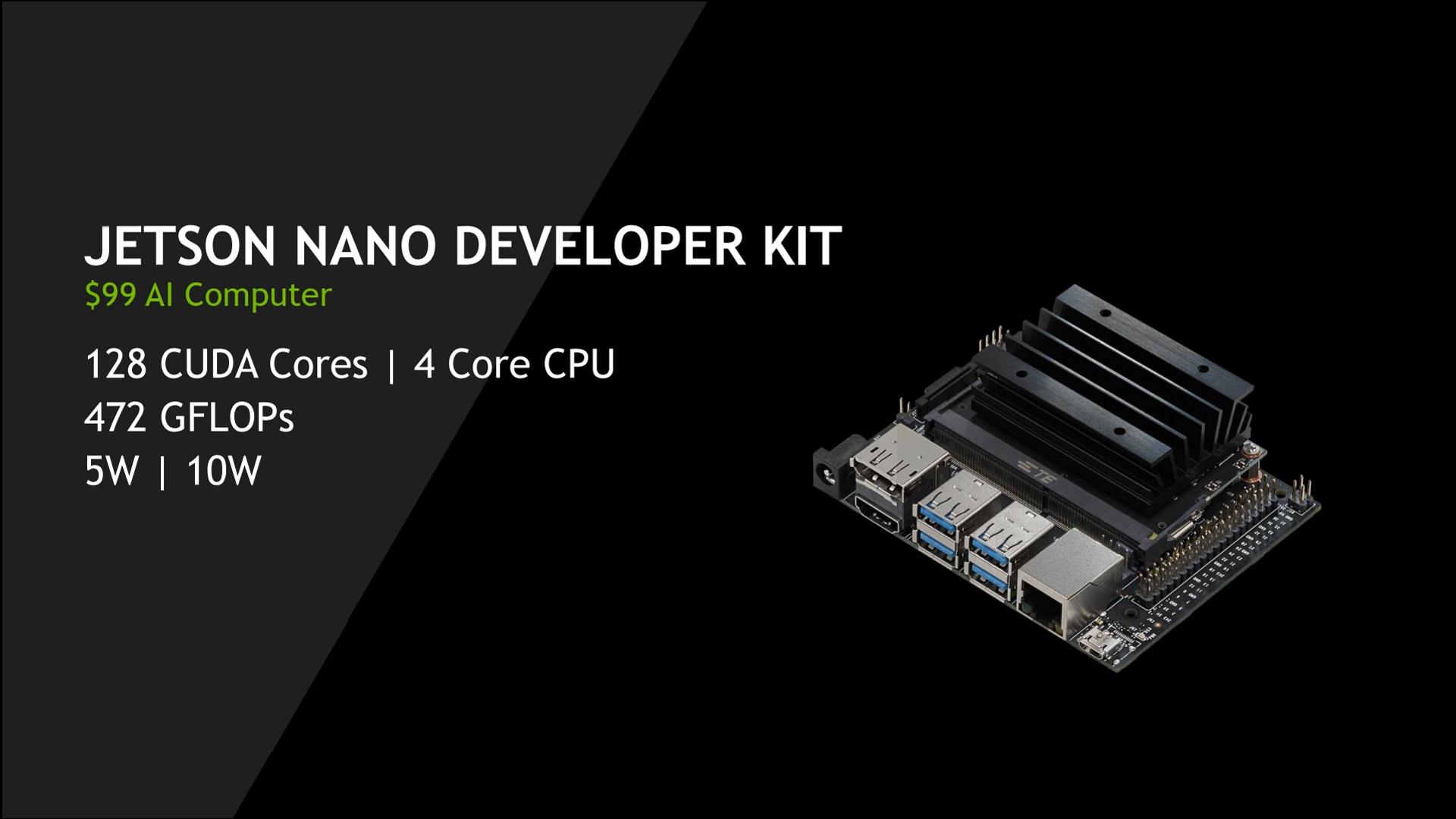 Promo photo of the new Nvidia Jetson Nano alongside the specs and price info.