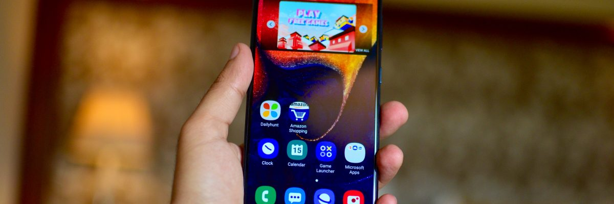 Samsung Galaxy A50 front display in hand