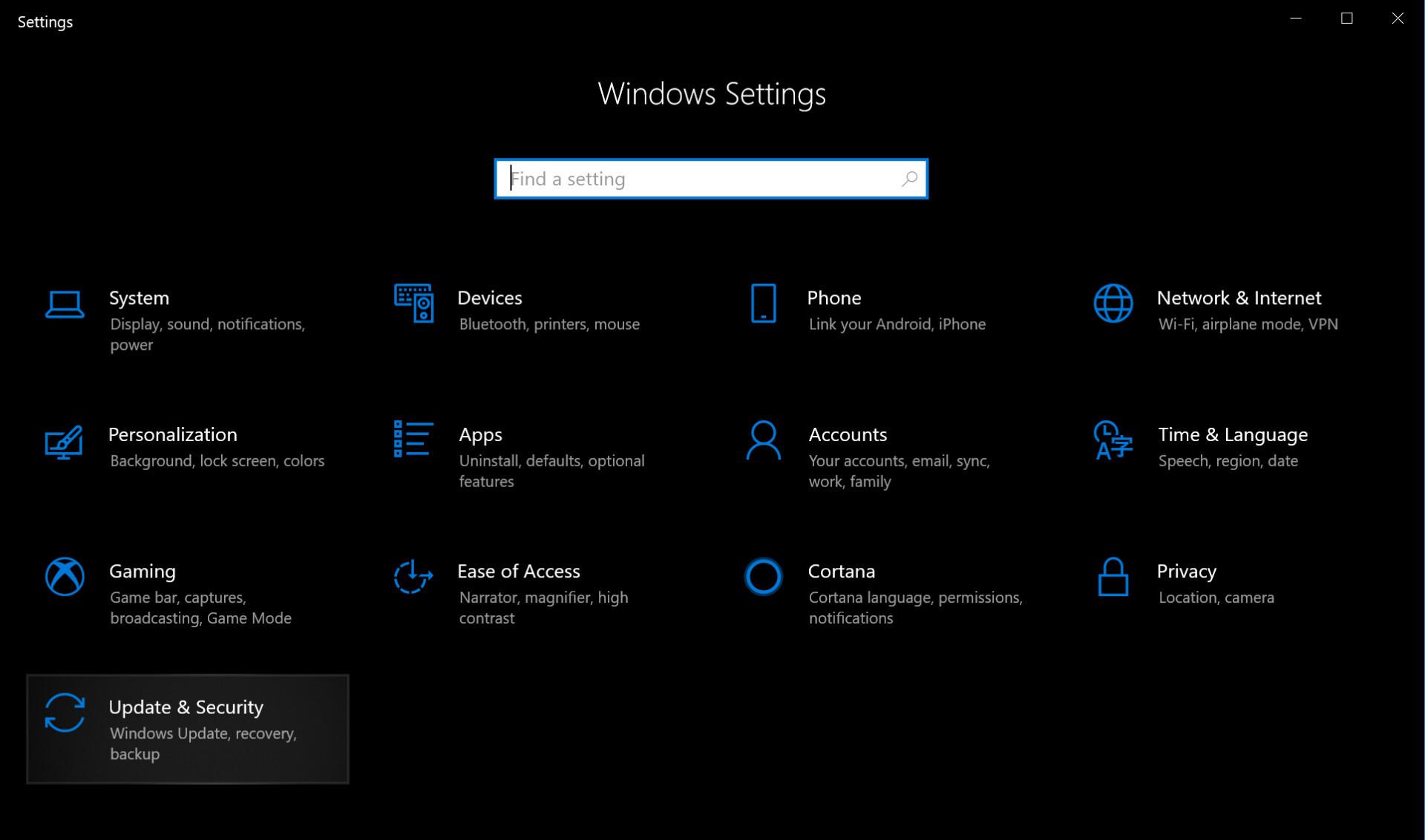 Screenshot of Windows 10 settings menu