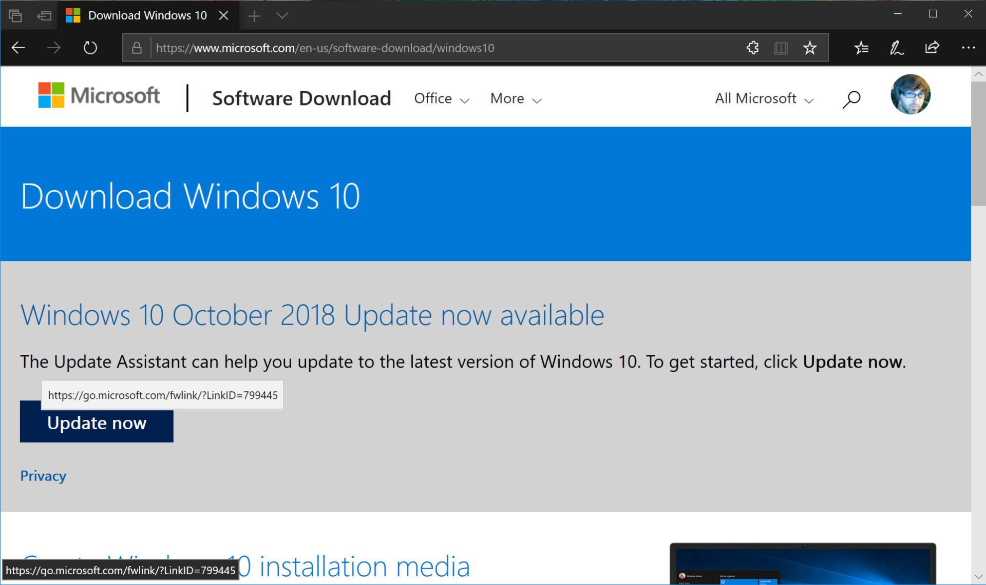 Screenshot of Microsoft Windows 10 update download website.