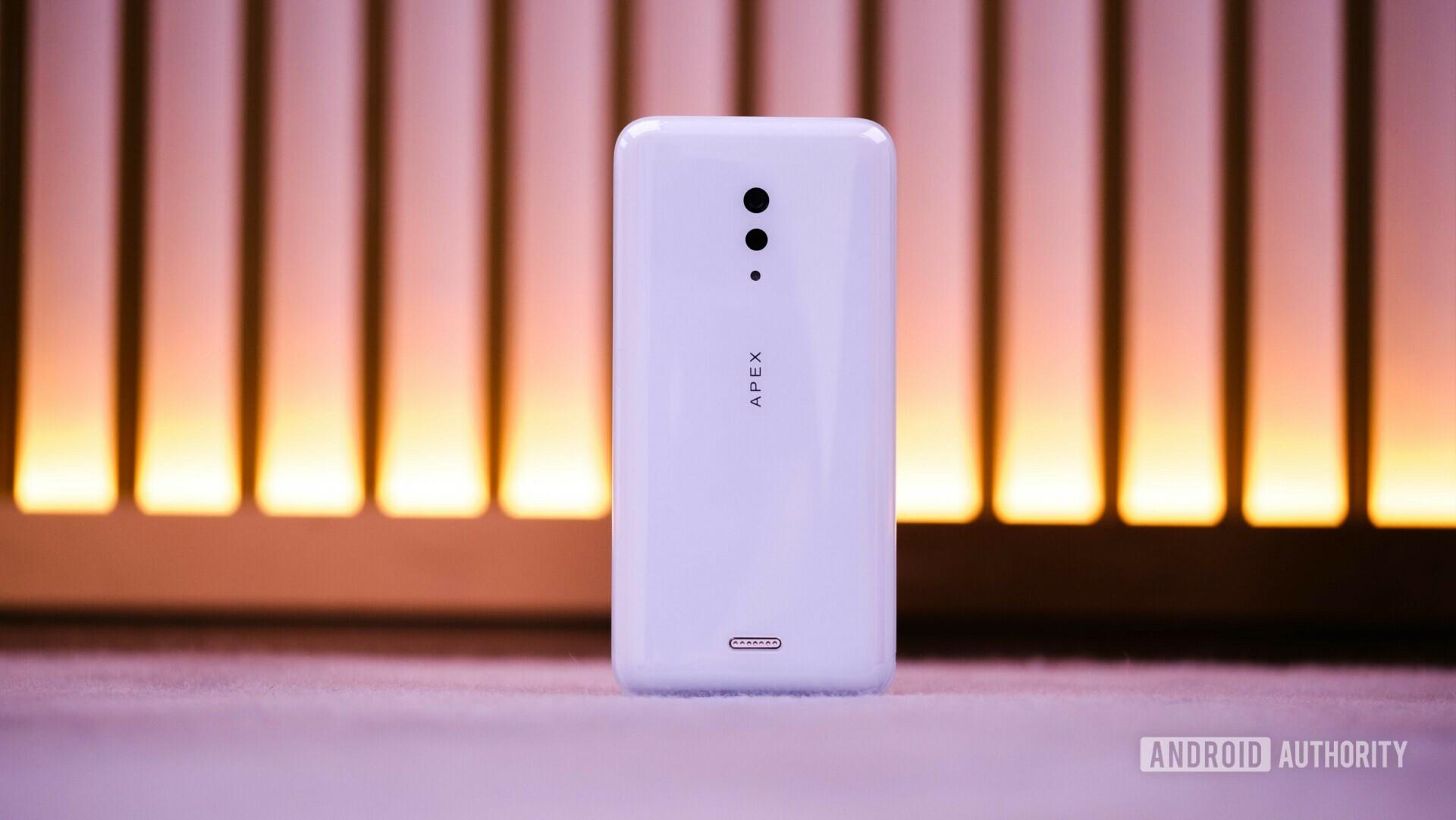 Back side of the Vivo APEX 2019 Concept in white color.