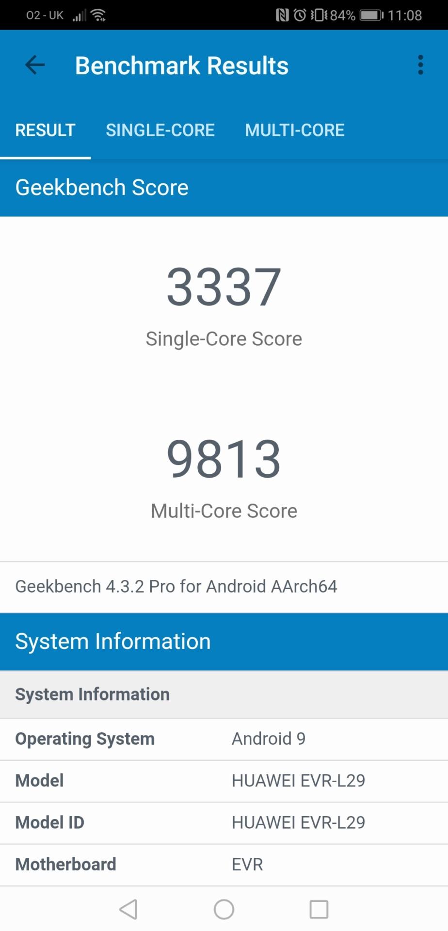 uawei mate 20 x geekbench benchmark