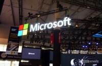 microsoft logo sign at mwc 2019