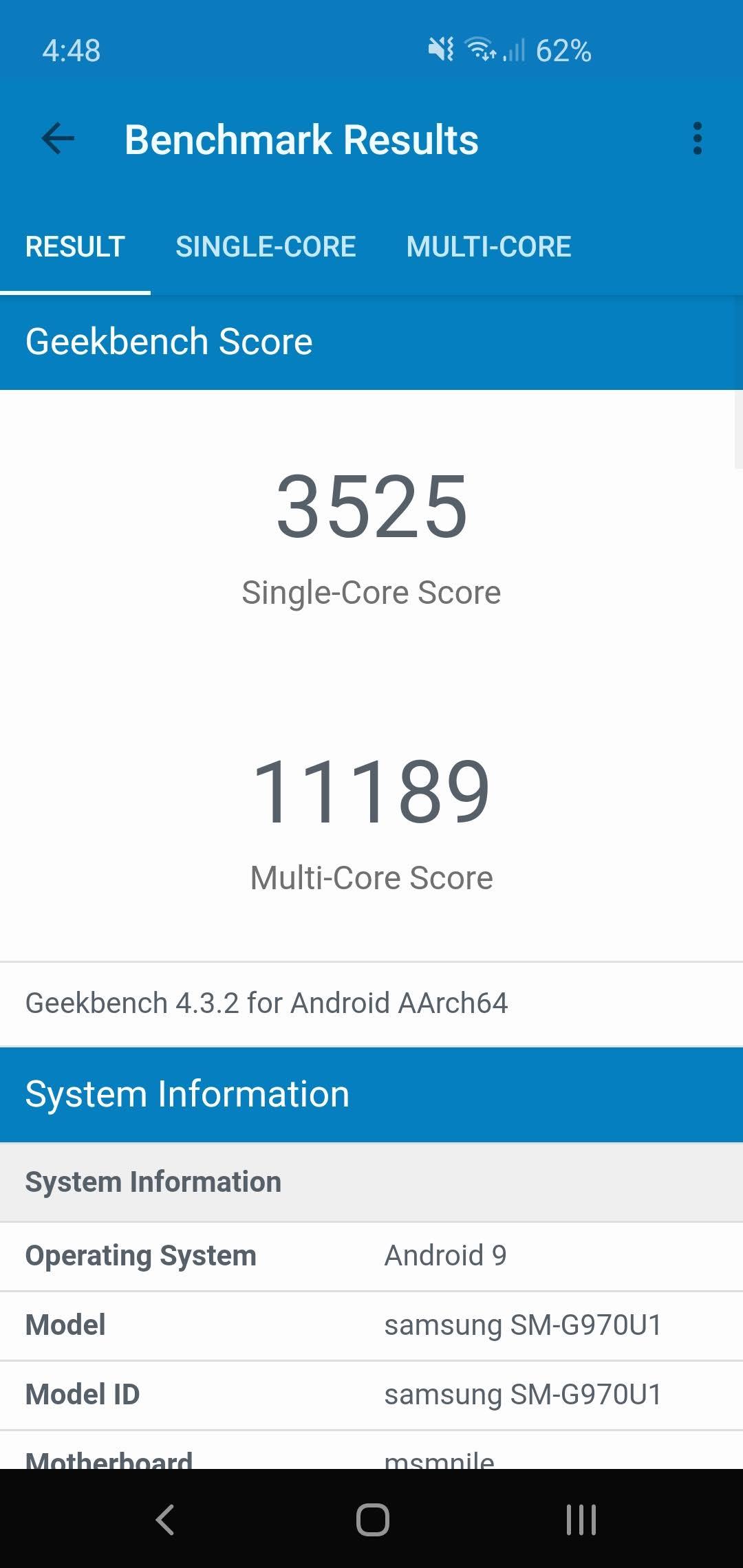 Screenshot of the samsung galaxy s10e geekbench benchmark result