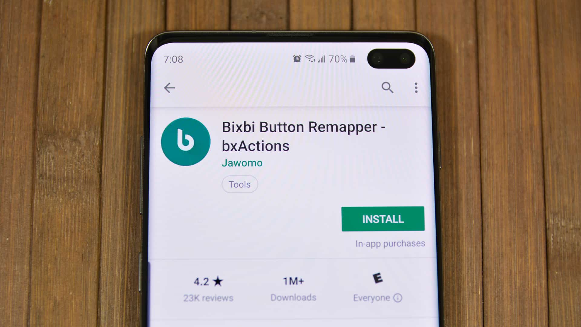 A photo of Bixbi Button Remapper app from the Google Play Store