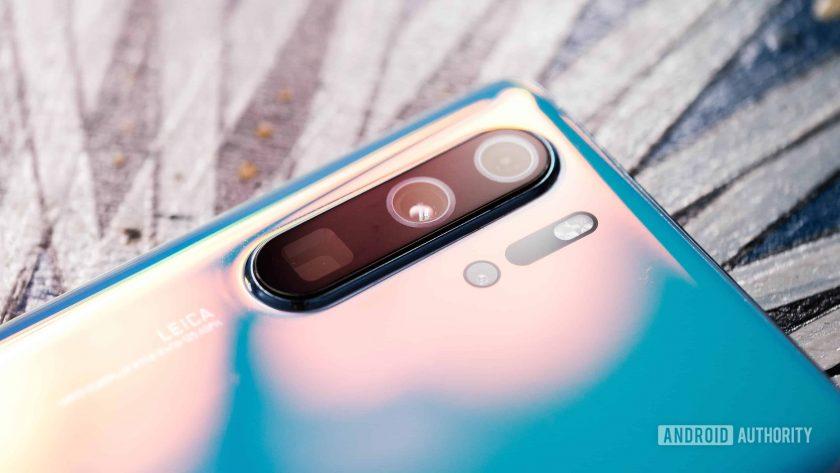 Huawei P30 Pro camera array at angle