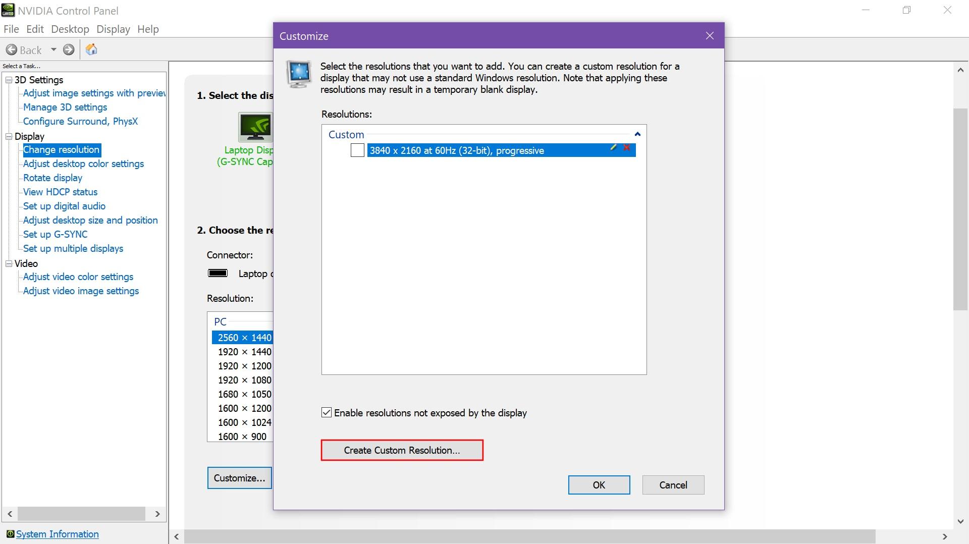 Nvidia Create Custom Resolution