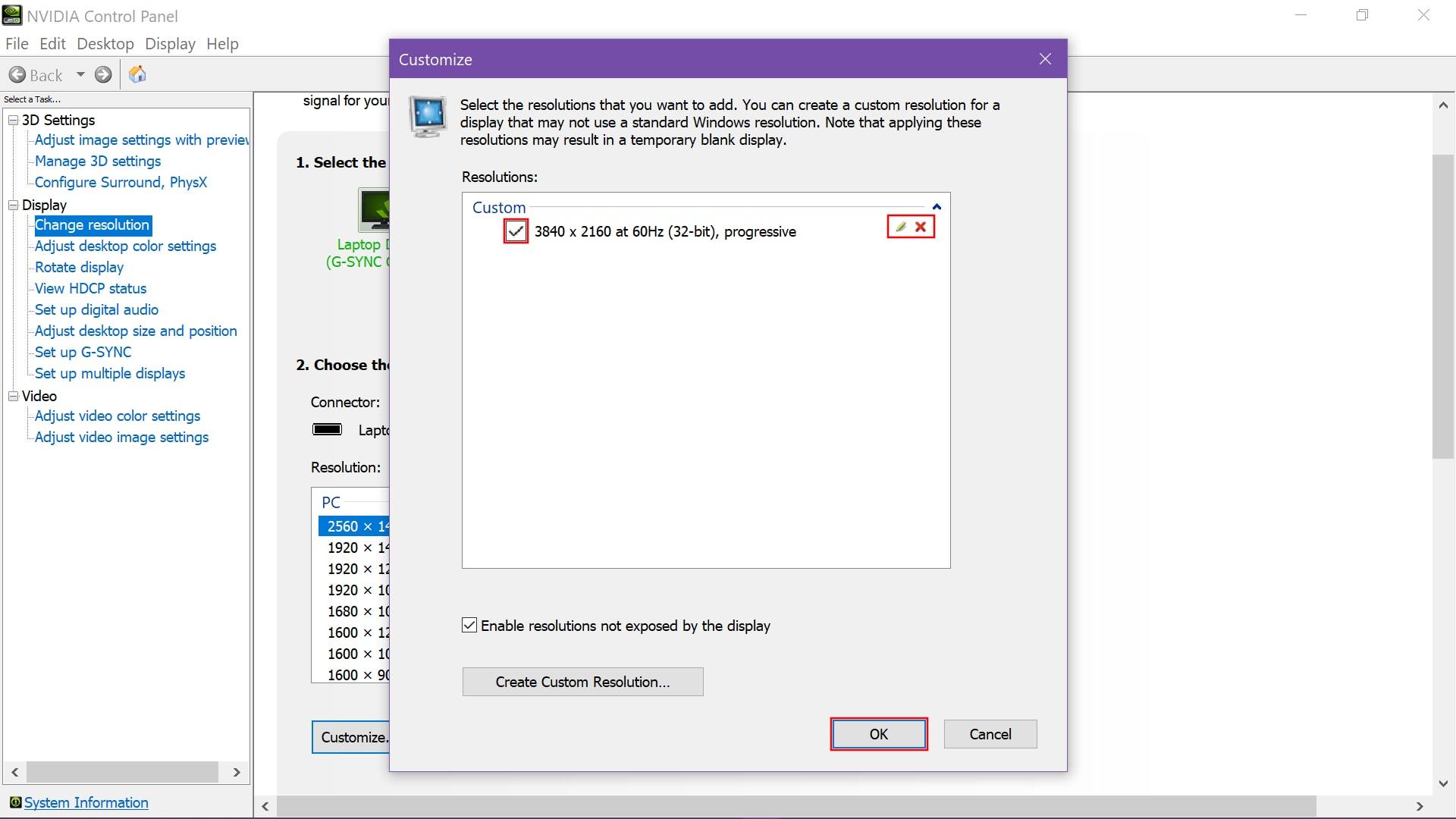 Nvidia Edit Custom Resolution