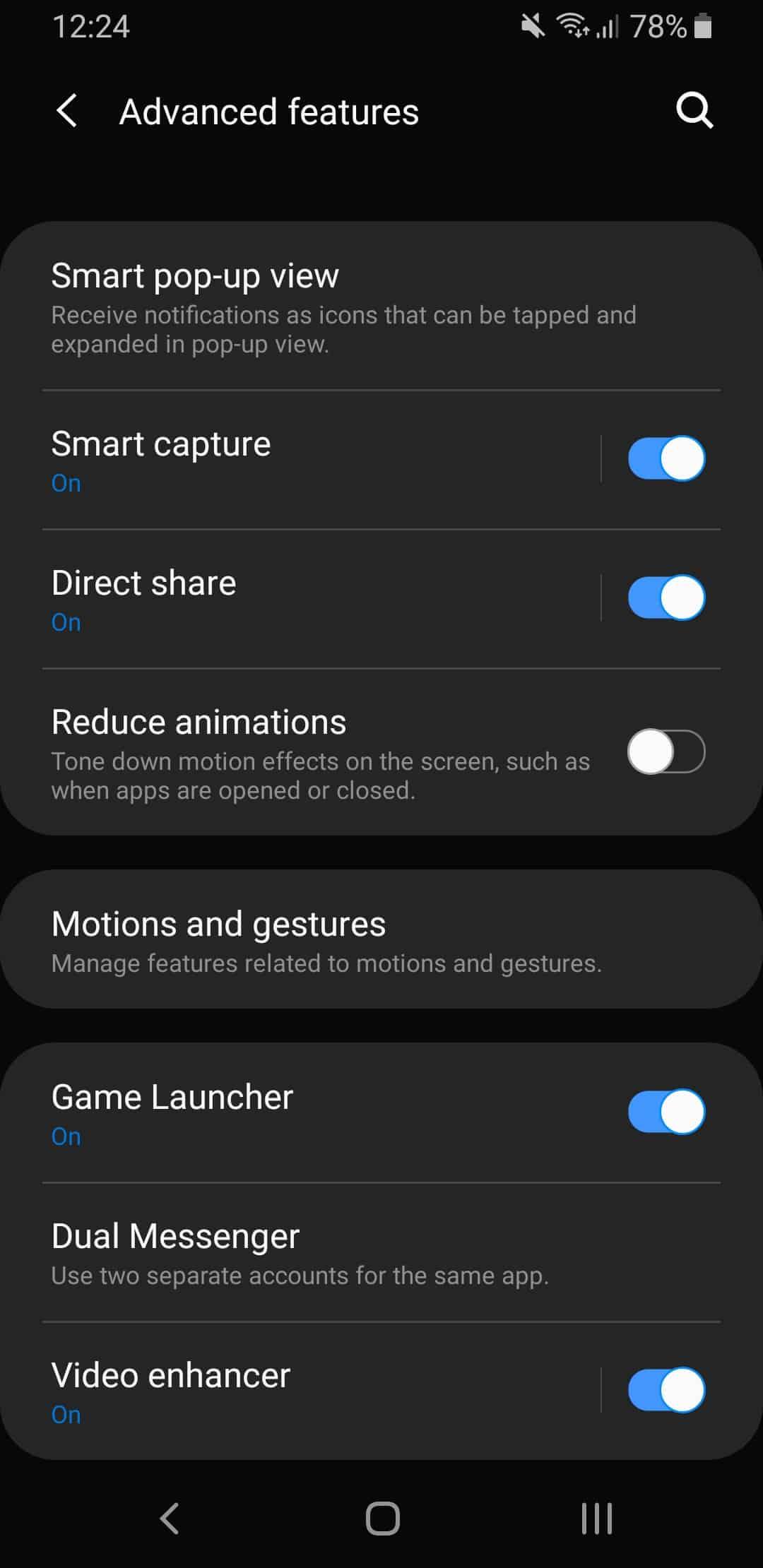 Samsung One UI advanced settings.