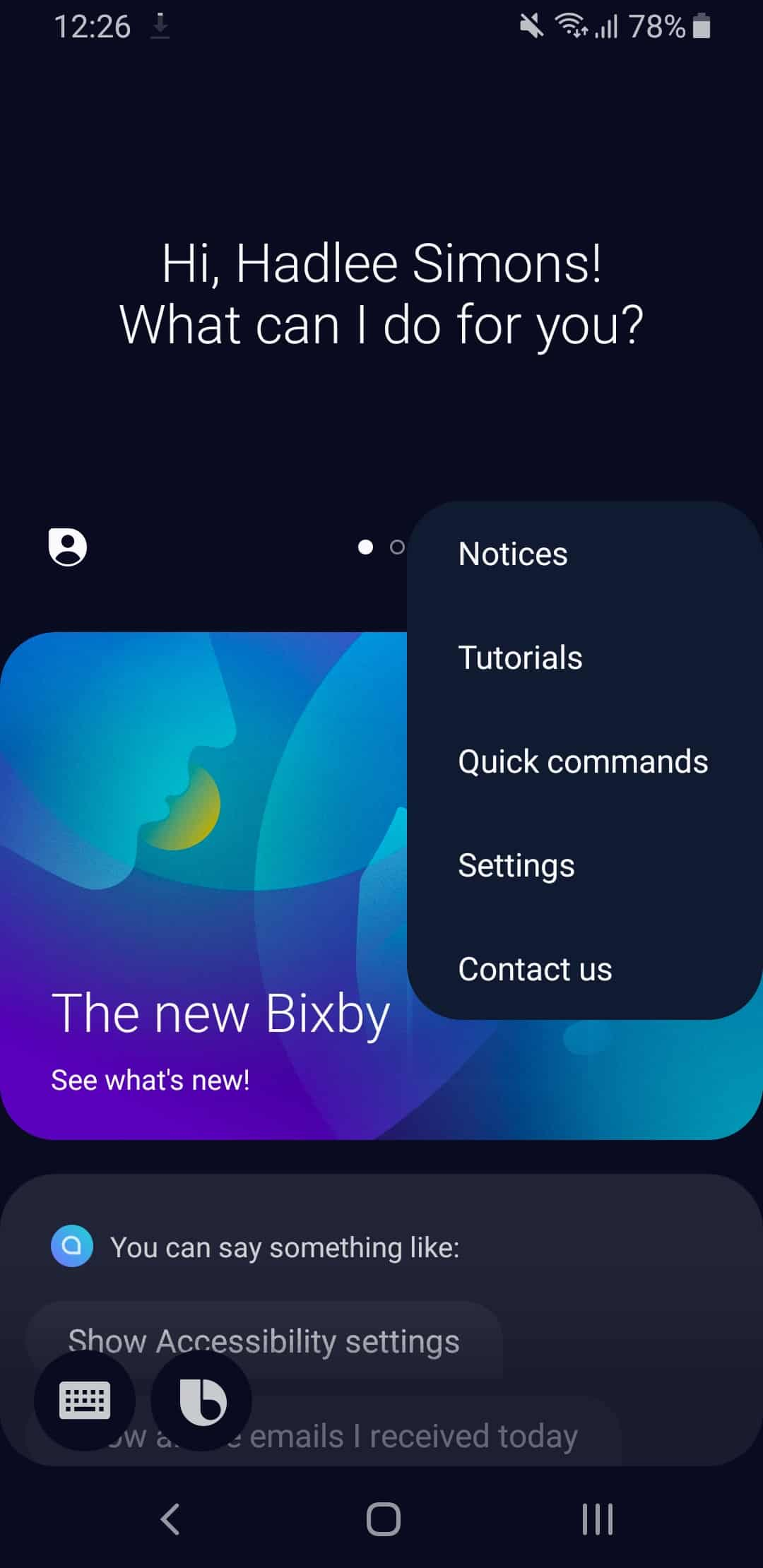 Bixby on Samsung One UI.