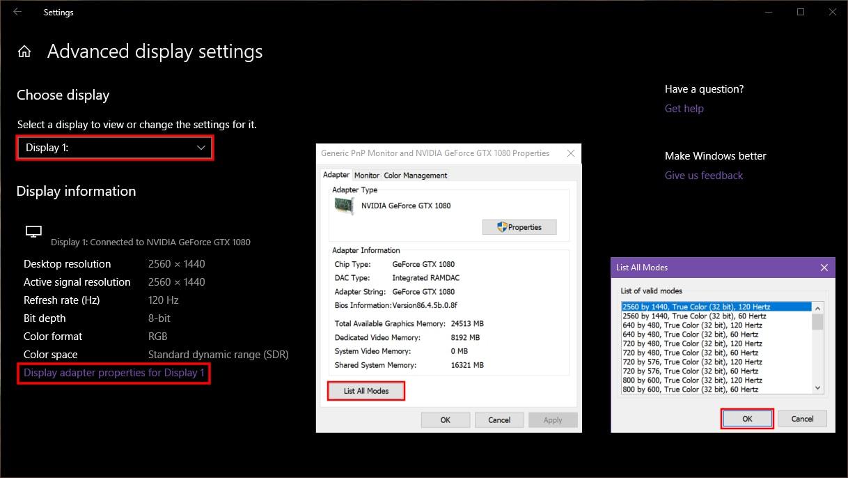 Windows 10 List All Modes