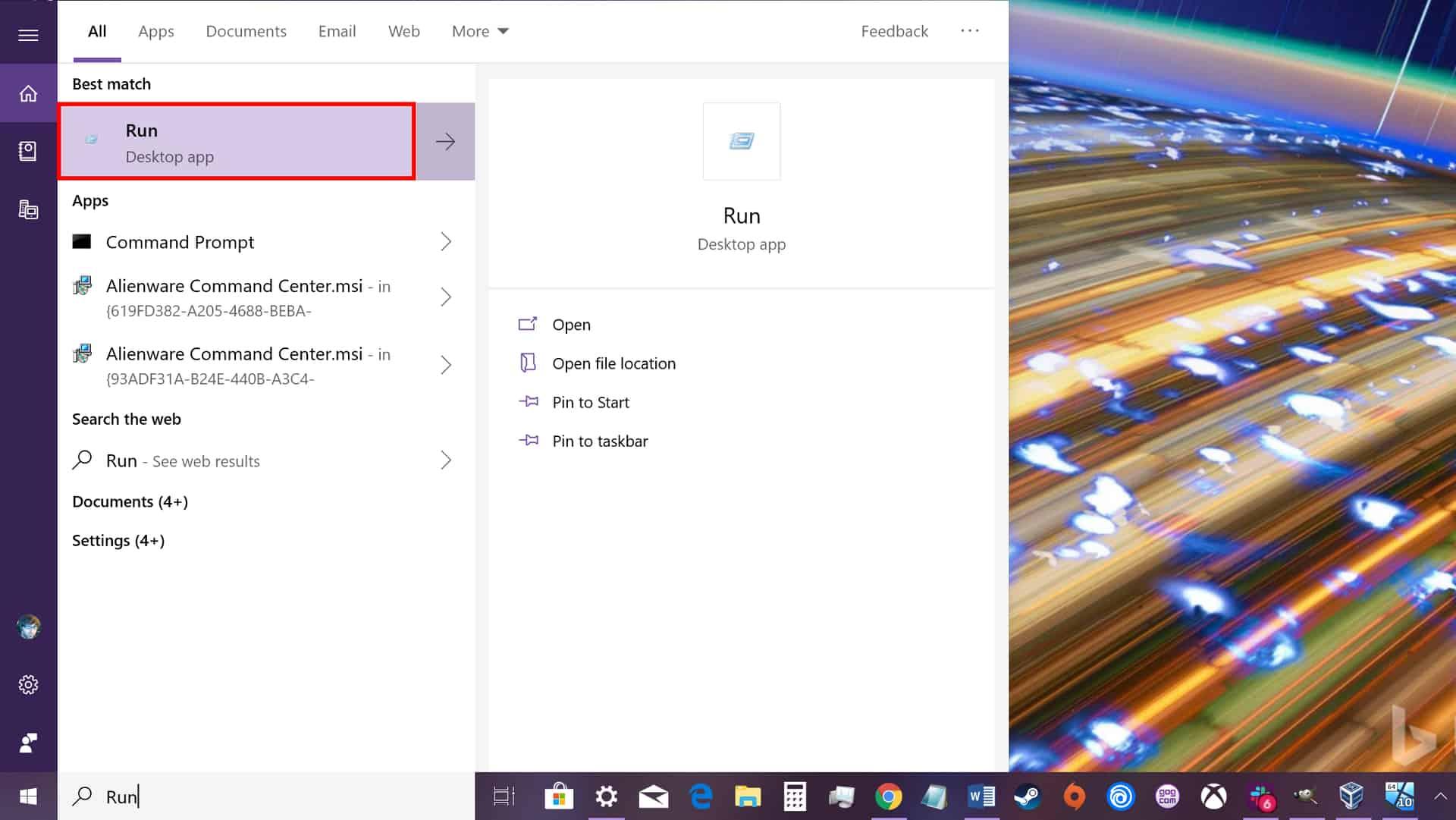 Windows 10 Type Run Command