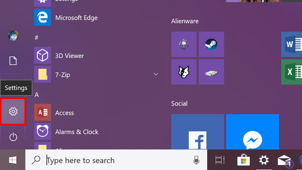 Windows 10 access Settings
