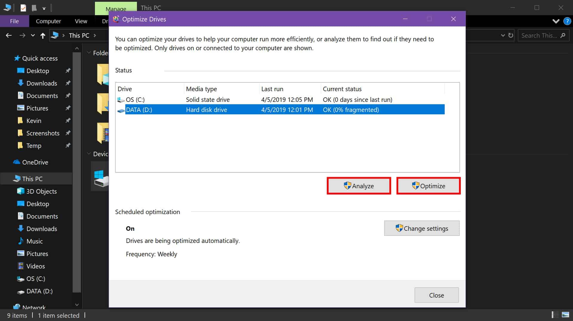 Windows 10 analyze and optimize