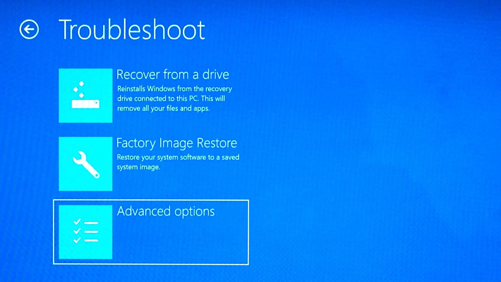 Windows 10 choose advanced options