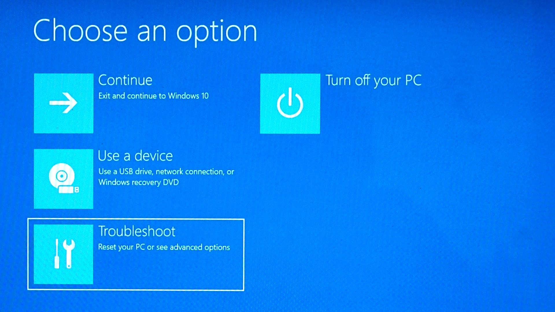 Windows 10 choose troubleshoot