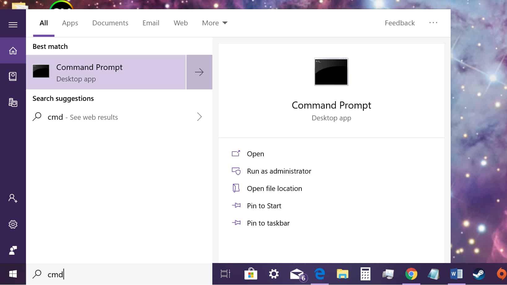 Windows 10 load command prompt