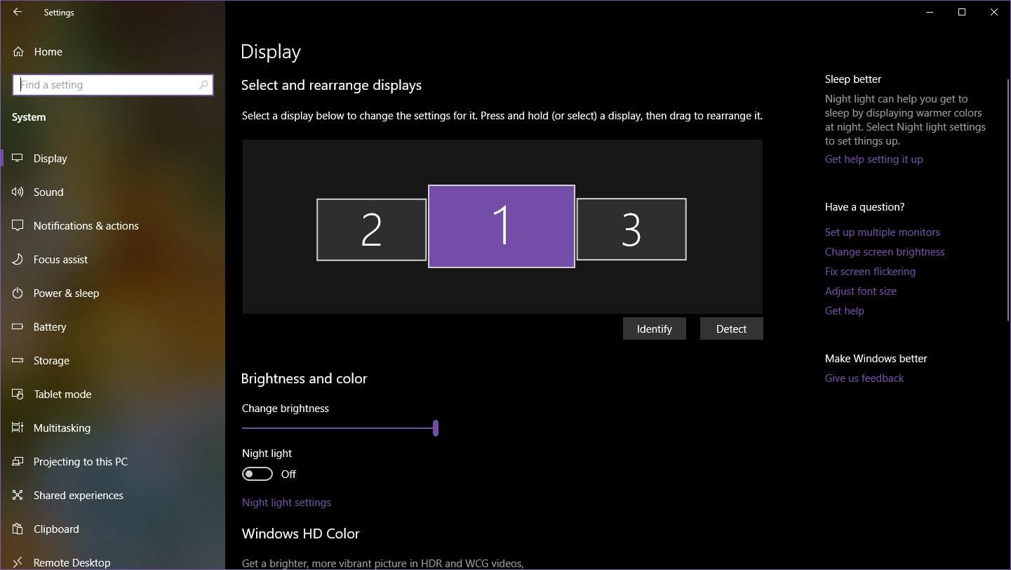 Windows 10 multiple Displays