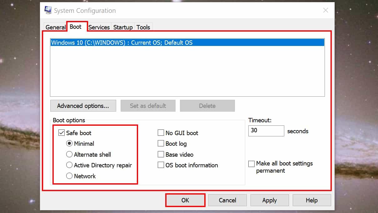 Windows 10 system config safe boot