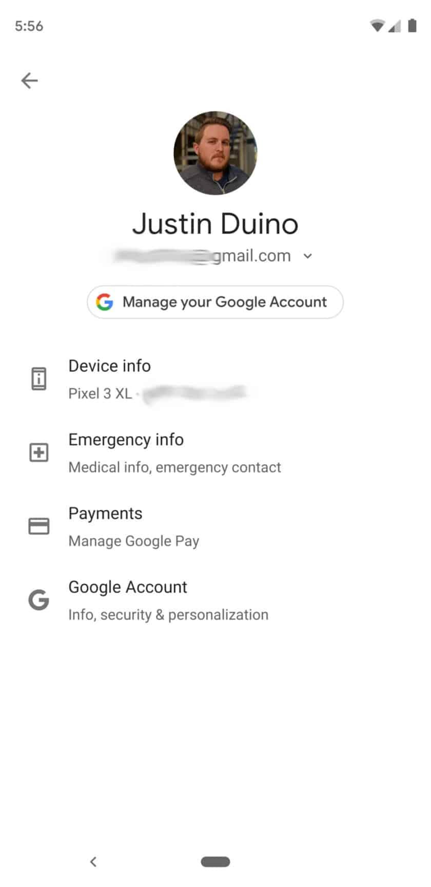 Android Q Beta 2 Settings Menu Google Account
