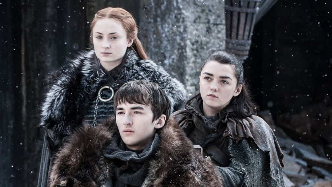 Arya, Bran, and Sansa Stark from Game of Thrones.