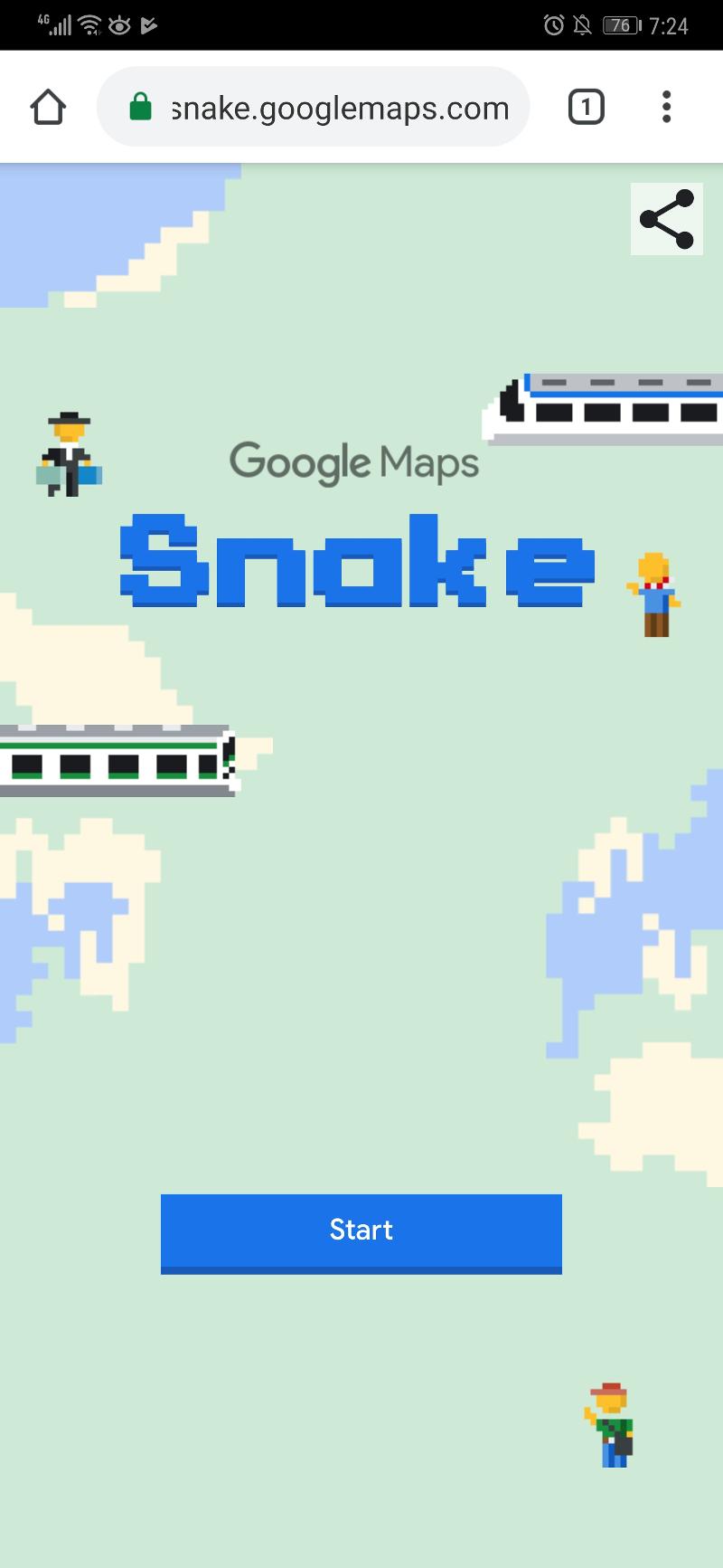 The splash screen in Google Maps Snake.