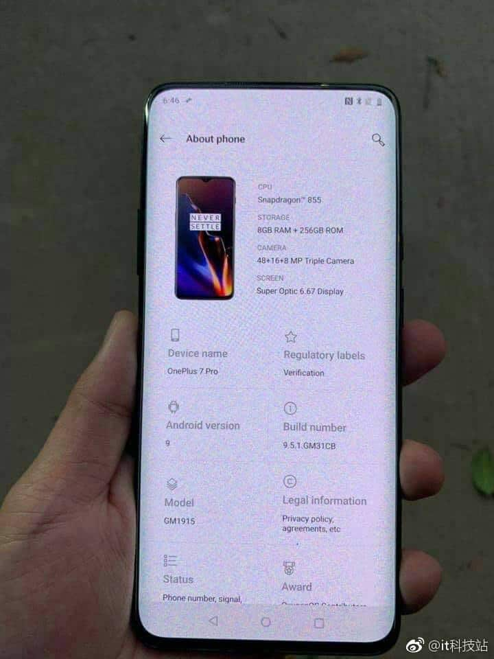 The alleged OnePlus 7 Pro.