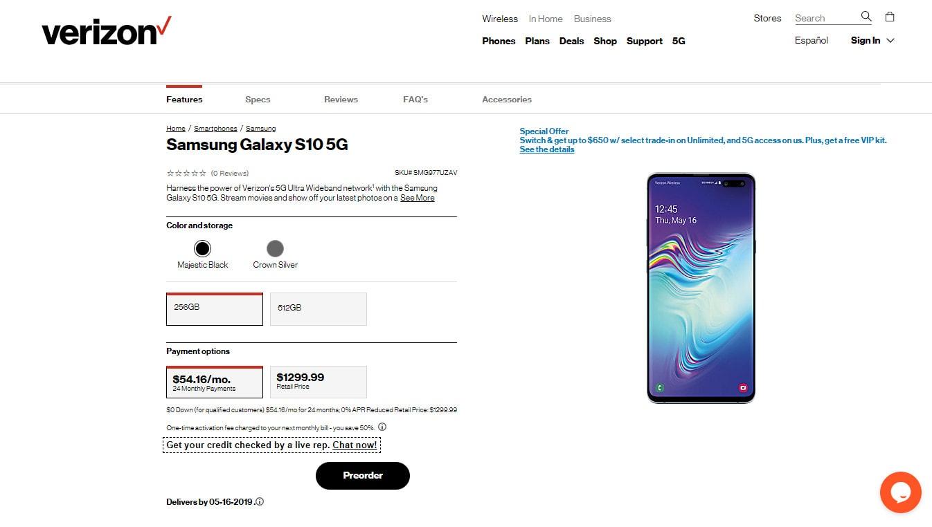 The Samsung Galaxy S10 5G pre-order page on Verizon.