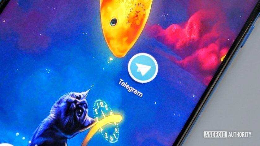 荣誉视图20上的电报图标,蓝色背景上有一只猫和一条鱼。