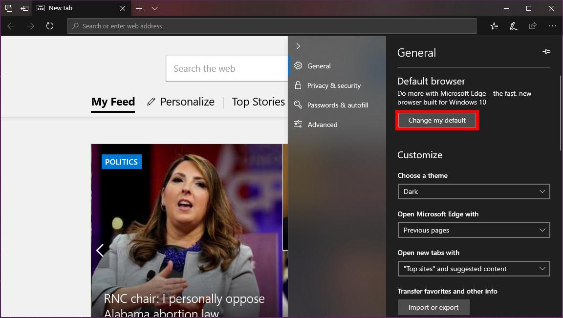 Microsoft Edge Change My Default