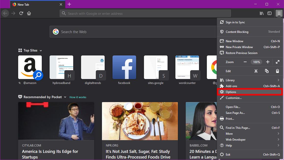 Mozilla Firefox Settings Options