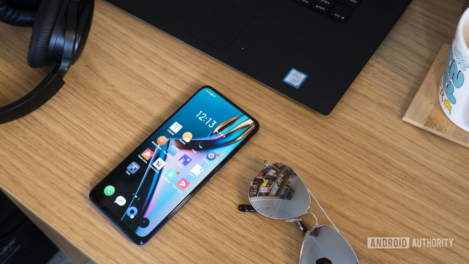 Realme X flat on a desk