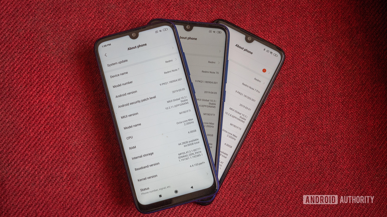 Redmi Note 7 vs Note 7S vs Note 7 Pro about screen